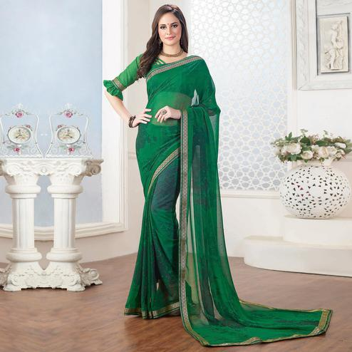 Sophisticated Green Colored Casual Floral Printed Georgette Saree