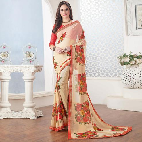 Trendy Cream Colored Casual Floral Printed Georgette Saree