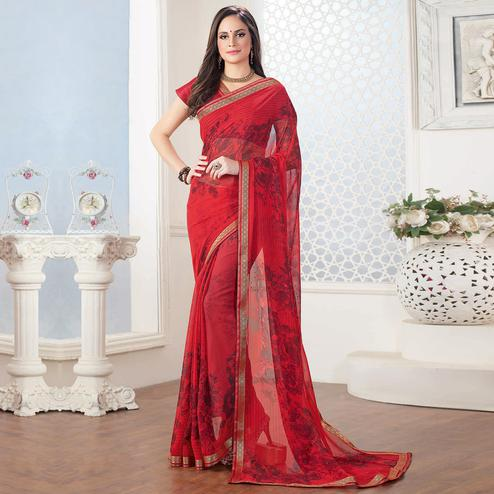 Elegant Red Colored Casual Floral Printed Georgette Saree