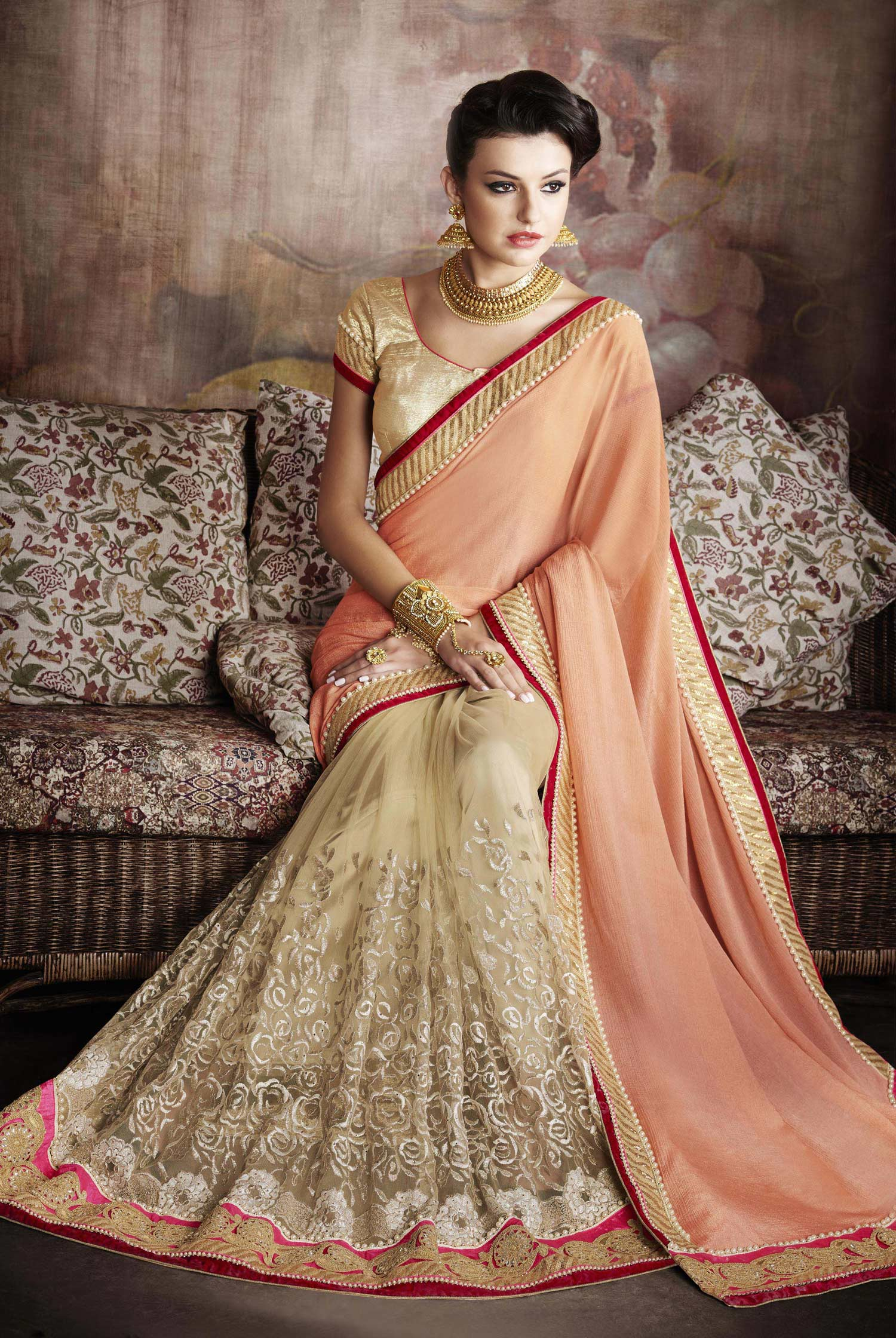 Beige - Orange Half & Half Saree