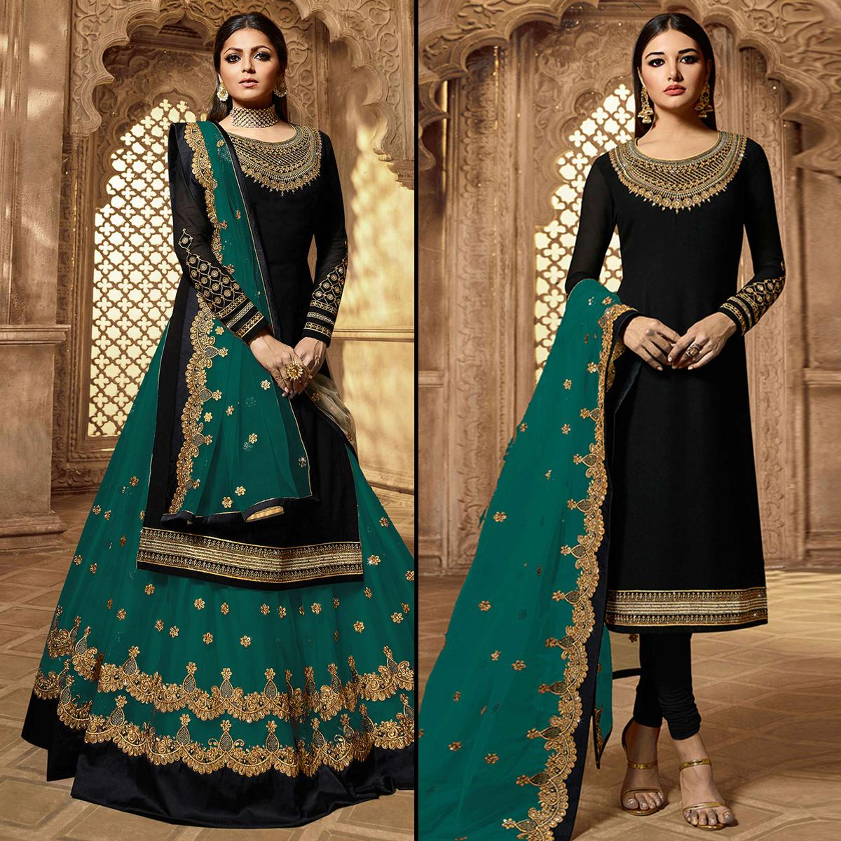 Appealing Black-Rama Green Colored Partywear Embroidered Georgette Dual Bottom Suit