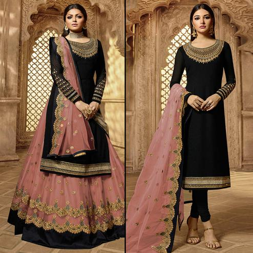 Capricious Black-Peach Colored Partywear Embroidered Georgette Dual Bottom Suit