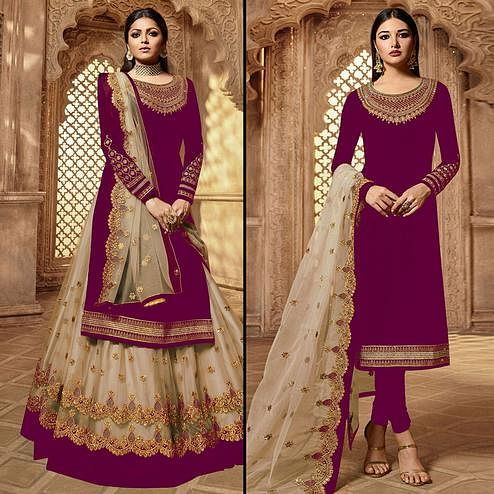 Entrancing Magenta Pink Colored Partywear Embroidered Georgette Dual Bottom Suit