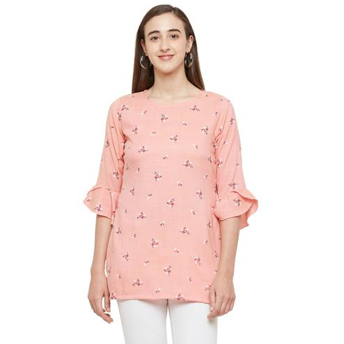 Groovy Peach Colored Casual Wear Floral Printed Cotton Kurti