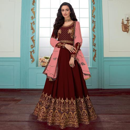 Opulent Maroon Colored Party Wear Floral Embroidered Georgette Anarkali Suit