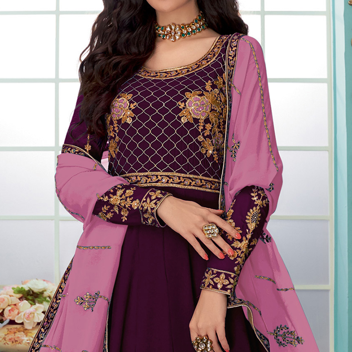 Energetic Purple Colored Party Wear Floral Embroidered Georgette Anarkali Suit