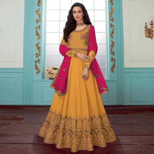 Gleaming Yellow Colored Party Wear Floral Embroidered Georgette Anarkali Suit