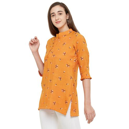 Intricate Orange Colored Casual Wear Floral Printed Cotton Top