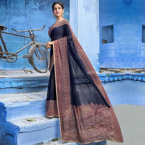 Desirable Navy Blue Colored Casual Wear Printed Georgette Saree