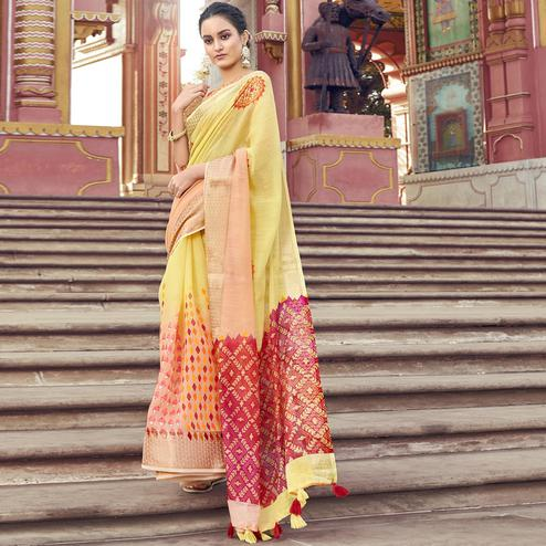 Adorable Yellow Colored Festive Wear Printed Cotton Saree With Tassels