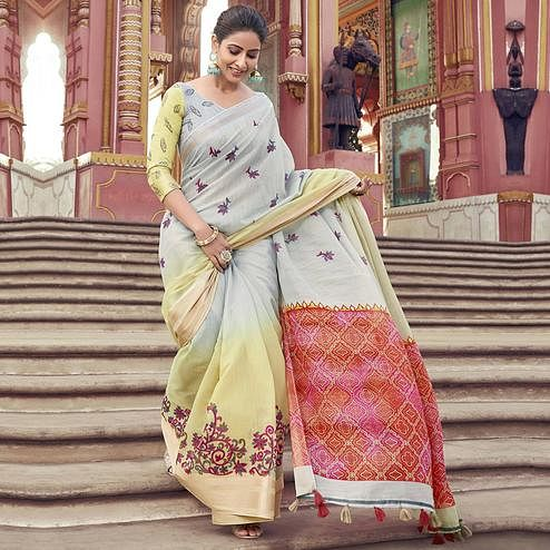 Glorious Grey Colored Festive Wear Printed Cotton Saree With Tassels