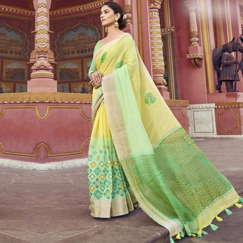 Attractive Lime Green-Yellow Colored Festive Wear Printed Cotton Saree With Tassels