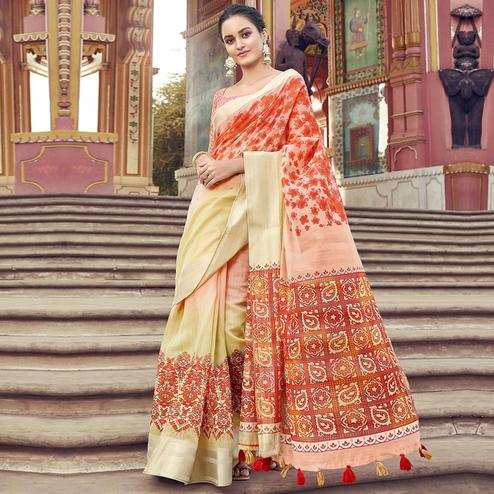 Blooming Multi Colored Festive Wear Printed Cotton Saree With Tassels