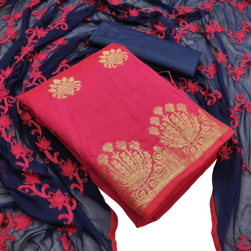 Elegant Deep Pink Colored Festive Wear Woven Banarasi Silk Dress Material