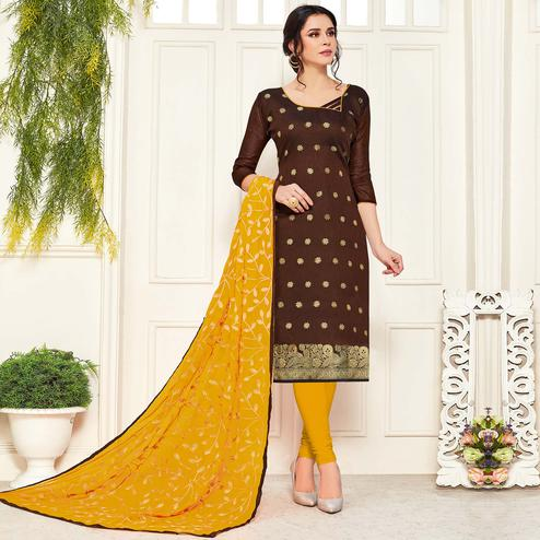 Pleasant Brown Colored Festive Wear Woven Banarasi Silk Dress Material