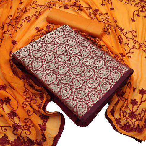 Opulent Maroon Colored Festive Wear Woven Banarasi Silk Dress Material