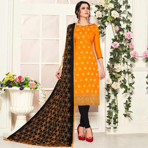Energetic Mustard Yellow Colored Festive Wear Woven Banarasi Silk Dress Material