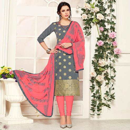 Glowing Grey Colored Festive Wear Woven Banarasi Silk Dress Material