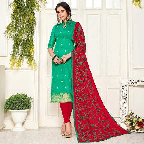 Exceptional Turquoise Green Colored Festive Wear Woven Banarasi Silk Dress Material