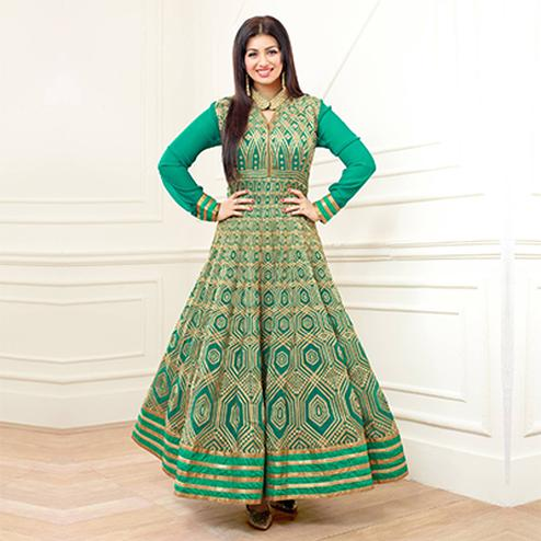 Green Festive Wear Anarkali Suit