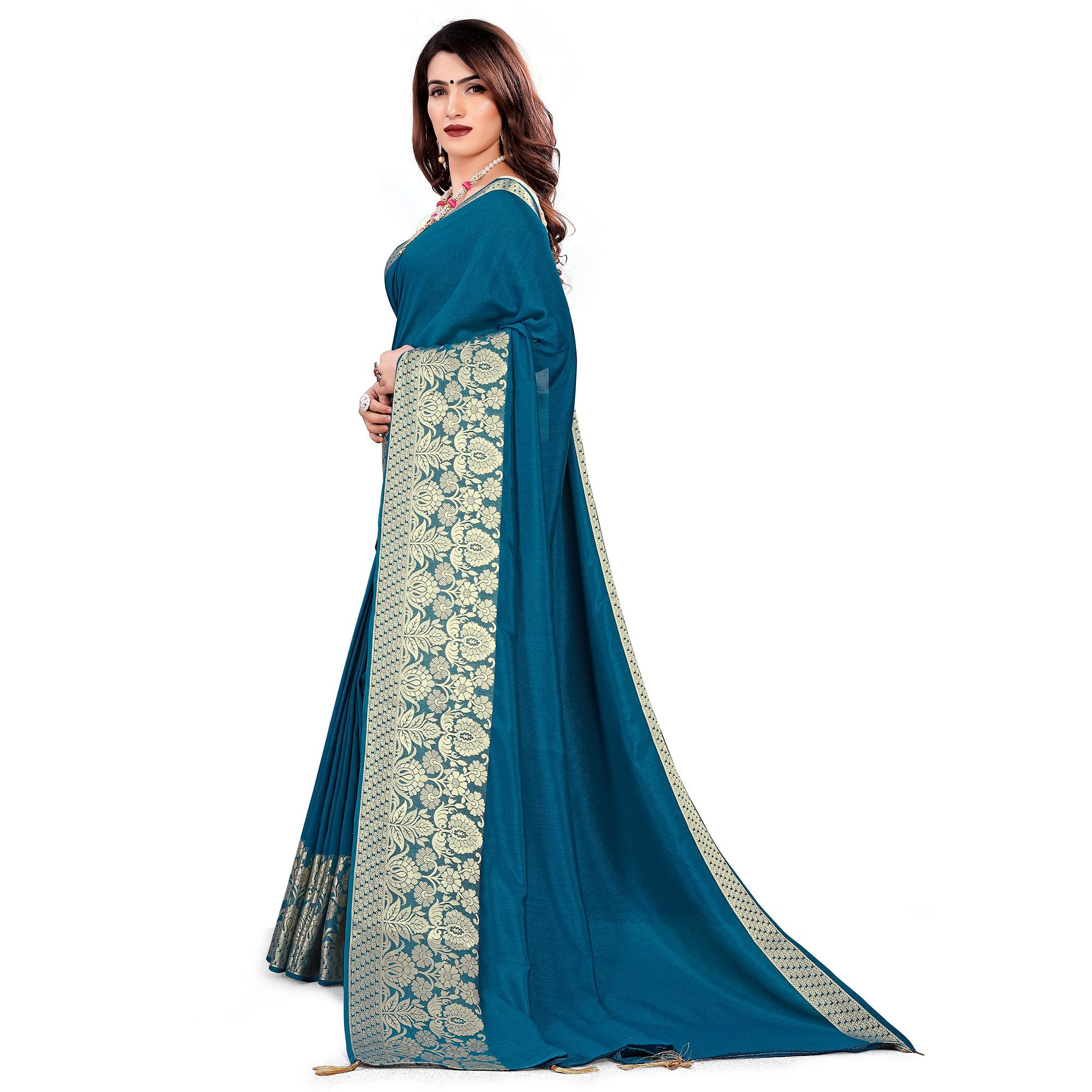 Classy Teal Blue Colored Festive Wear Woven Art Silk Saree With Tassels