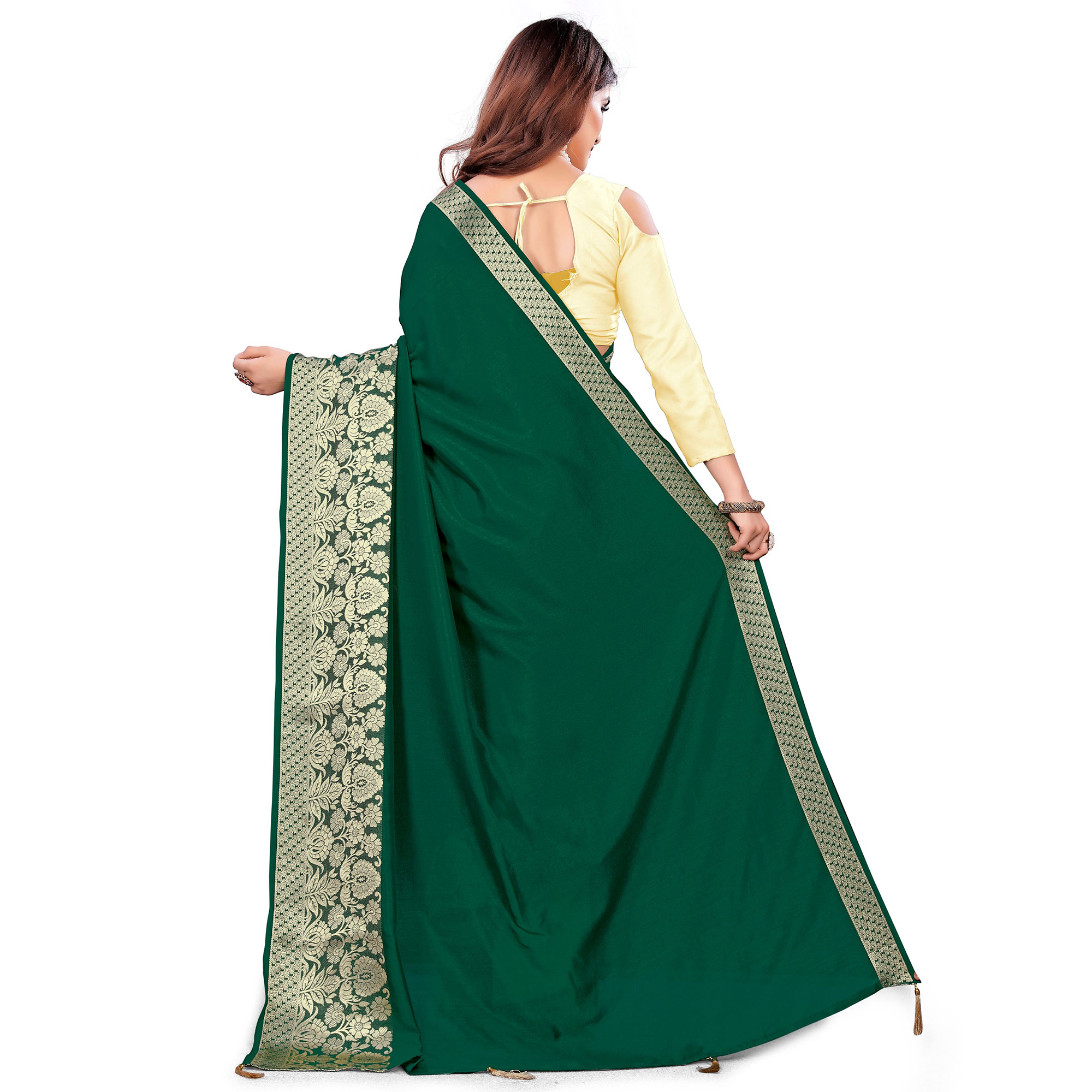 Adorning Green Colored Festive Wear Woven Art Silk Saree With Tassels