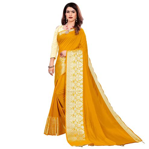 Trendy Yellow Colored Festive Wear Woven Art Silk Saree With Tassels