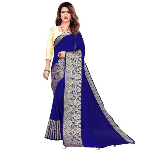 Elegant Royal Blue Colored Festive Wear Woven Art Silk Saree With Tassels