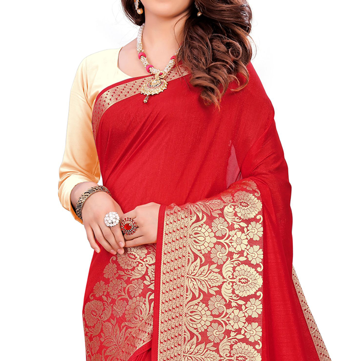 Radiant Red Colored Festive Wear Woven Art Silk Saree With Tassels