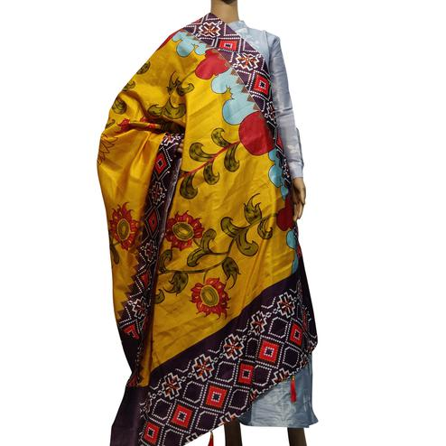 Intricate Yellow Colored Casual Wear Printed Cotton Silk Dupatta With Tassels