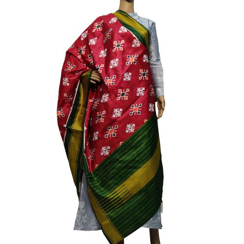 Adorable Red Colored Casual Wear Printed Cotton Silk Dupatta With Tassels