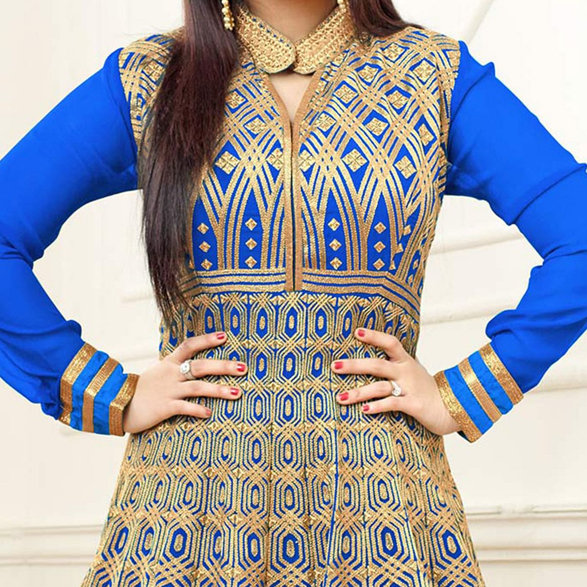 Royal Blue Semi Stitched Anarkali Suit