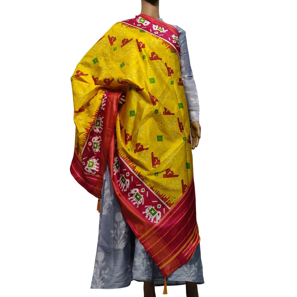 Glorious Yellow-Red Colored Casual Wear Printed Cotton Silk Dupatta With Tassels