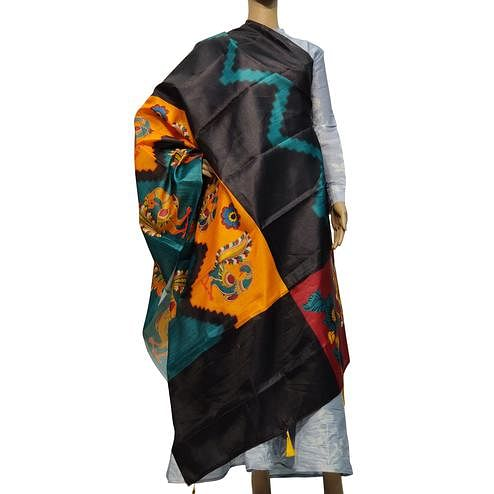 Attractive Black Colored Casual Wear Printed Cotton Silk Dupatta With Tassels
