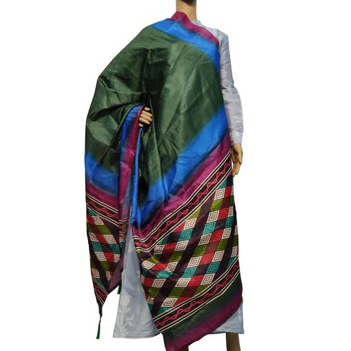 Beautiful Green-Multi Colored Casual Wear Printed Cotton Silk Dupatta With Tassels
