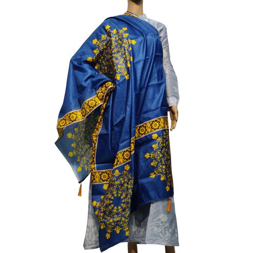 Blooming Blue Colored Casual Wear Printed Cotton Silk Dupatta With Tassels