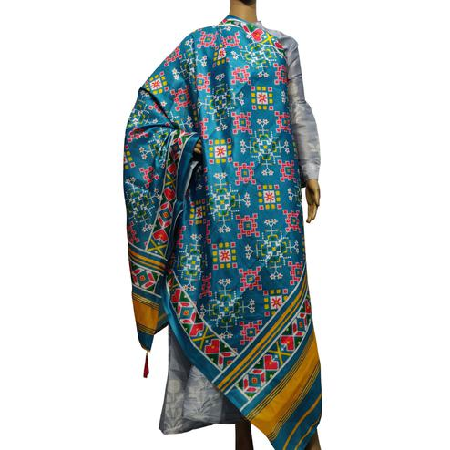 Charming Sky Blue Colored Casual Wear Printed Cotton Silk Dupatta With Tassels