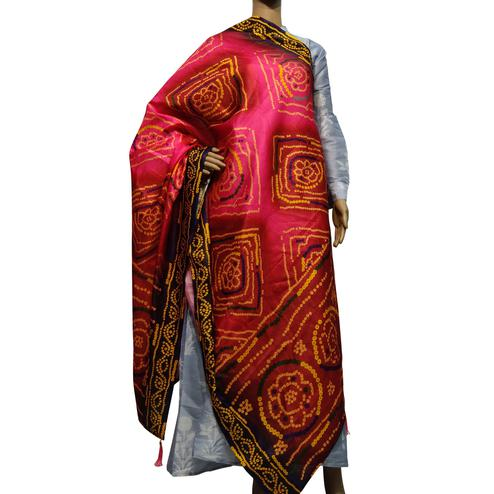 Jazzy Pink Colored Casual Wear Printed Cotton Silk Dupatta With Tassels