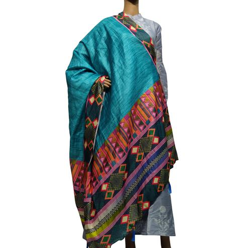 Delightful Blue-Multi Colored Casual Wear Printed Cotton Silk Dupatta With Tassels