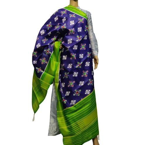 Engrossing Purple Colored Casual Wear Printed Cotton Silk Dupatta With Tassels