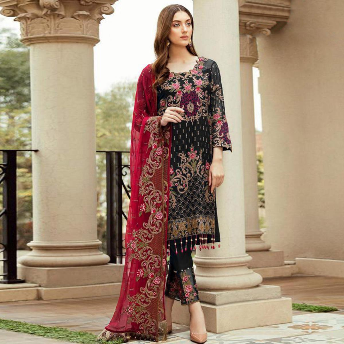 Pretty Black Colored Partywear Embroidered Kashmiri Style Georgette Suit