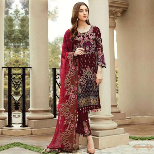 Sensational Maroon Colored Partywear Embroidered Kashmiri Style Georgette Suit