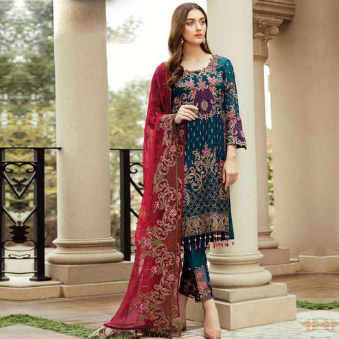 Flaunt Rama Blue Colored Partywear Embroidered Kashmiri Style Georgette Suit
