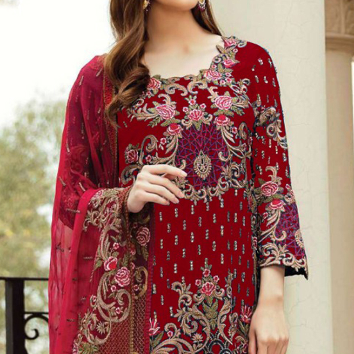 Stunning Red Colored Partywear Embroidered Kashmiri Style Georgette Suit