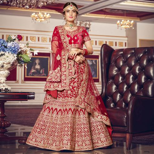 Refreshing Red Colored Wedding Wear Embroidered Velvet Lehenga Choli