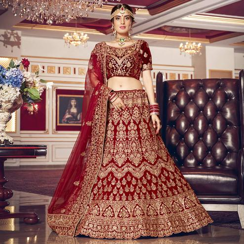 Hypnotic Red Colored Wedding Wear Embroidered Velvet Lehenga Choli