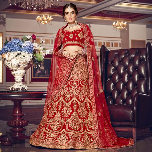 Flattering Red Colored Wedding Wear Embroidered Velvet Lehenga Choli