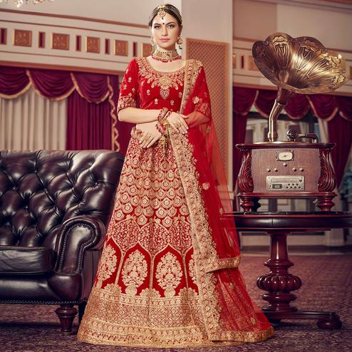 Excellent Red Colored Wedding Wear Embroidered Velvet Lehenga Choli