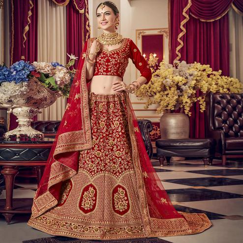 Preferable Red Colored Wedding Wear Embroidered Velvet Lehenga Choli