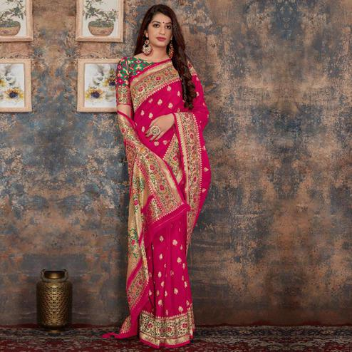 Captivating Deep Pink Colored Festive Wear Woven Banarasi Silk Saree